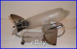 SARSAPARILLA Frosted Glass & Chrome Airplane Lamp Art Deco Design