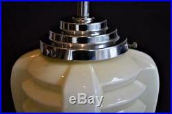 SUPERB 1930s ART DECO OPALINE GLASS TORPEDO SKYSCRAPER CEILING LIGHT LAMP