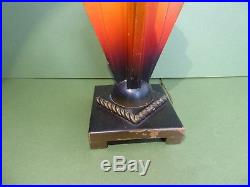 SUPERB Orig Vintage ENGLISH ART DECO Painted wooden GEOMETRIC Table lamp