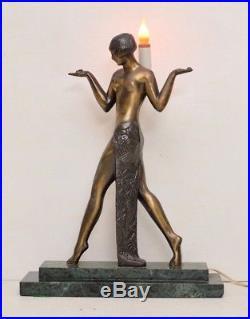 Sarsaparilla Brass Art Deco Cleopatra Lamp Marble Nude Lady Egyptian Goddess VTG