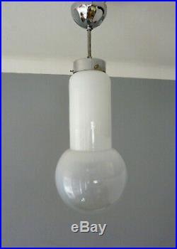Seltene Art Deco Klar & Milch-Glas Nickel/Chrom Pendel Deckenlampe Bauhaus Ära