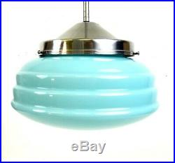 Seltene Bauhaus Streamline Avantgarde Opalin Deckenlampe Art Deco Lampe 1930