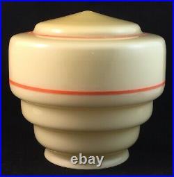 Stepped Cream With Orange Trim Art Deco Mini Skyscraper Glass Light Lamp Shade