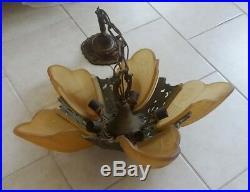 Stunning 1930s Antique Art Deco 5 Amber Slip Shade Ceiling Lamp Chandelier