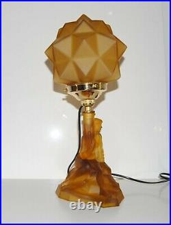 Stunning Art Deco Amber Glass Lady Lamp with Starburst Shade