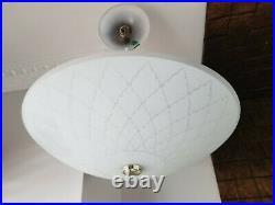 Stunning Art Deco Vintage Ceiling Lamp Fixture Glass Chandelier Light Wow 1950