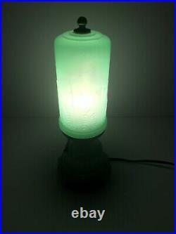 Stunning Vintage Art Deco Green Jadeite Glass 11.5 Lamp Skyscraper Rare