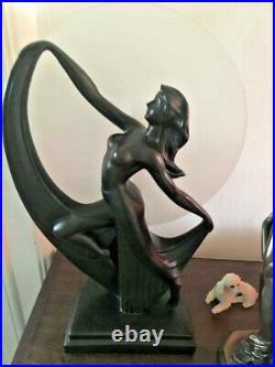 Stunning Vintage Widdop Bingham Art Deco Style Table Lamp Dancing Lady bronze