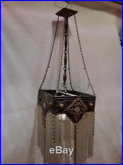 Stunning art nouveau french 1900 lamp ceiling lustre chandelier cabochons deco