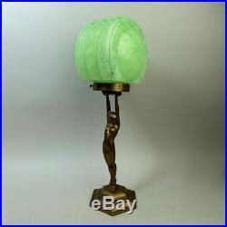 Stylish Art Deco Figural Brass Table Lamp & Shade C. 1930
