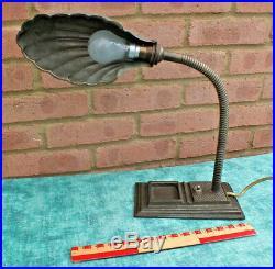 Superb Art Deco / Vintage Flexible Goose Neck Clam /shell Desk / Table Lamp