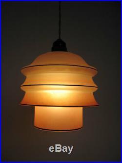 Superb Original Art Deco 2 Piece Glass Ceiling Light Lamp 1930s Pink Vintage
