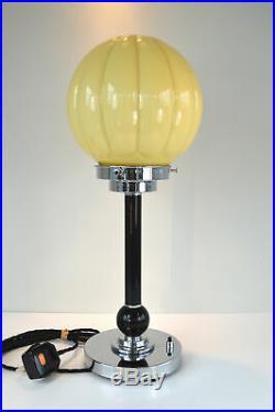 Superb refurbished Art Deco table lamp cream ribbed pumpkin shade 12