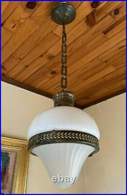 Suspension pendant opaline laiton verre Holophane Art Nouveau Déco 1900 lamp
