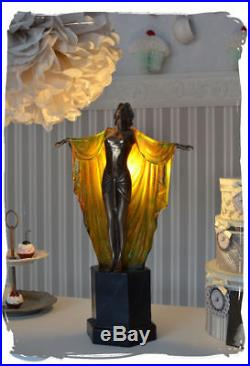 Table Lamp Art Deco female figure Femme Fatale Vintage lamp