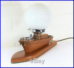 Table Lamp Original 1930s Art Deco Wooden Boat Nautical & Globe Glass Shade