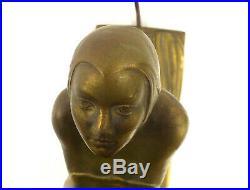 Table Lamp Woman Kneeling Art Deco Cast Metal 1930s Rare Female Bronze Finish