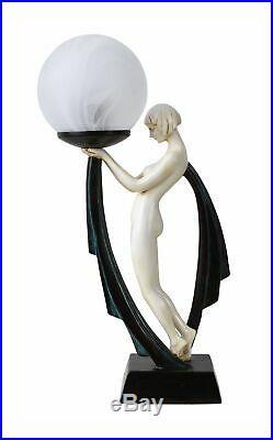 Table Lamp art deco Bauhaus Ball shade dancer figure erotic naked