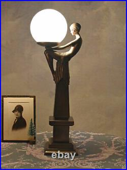 Table lamp woman Art Deco style light crouching dancer round shade milk glass