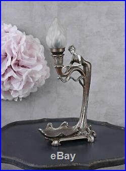 Tischlampe Jugendstil Frauenfigur Shabby Leuchte vintage Art Deco Tiffany