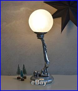 Tischleuchte Art Deco Frauenfigur Leuchte Tischlampe Kugelschirm Loftleuchte