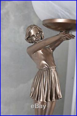 Tischleuchte Art Deco Tänzerin Kugelschirm Tischlampe Bauhaus Leuchte 20er Jahre