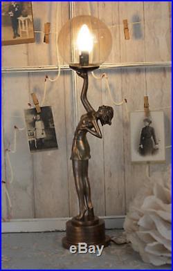 Tischleuchte Art Deco Tänzerin Tischlampe Lampe Kugelschirm Leuchte