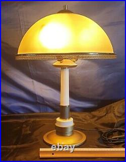 Très Belle Lampe Arts Déco 3 Lumière Verre Et Laiton