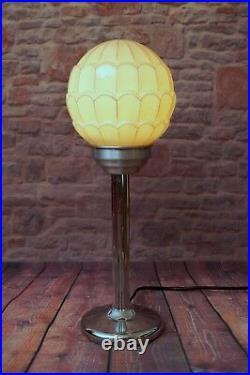 Unikate Art Deco Bauhaus Tischlampe Chrom Lampe Déco antikes Opalglas