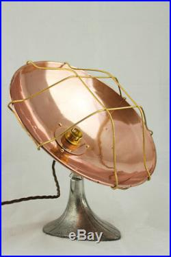 Up Cycled Vintage Art Deco Copper Heat Lamp To A Desk Lamp Light 1920-1930 Retro