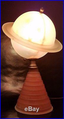 VINTAGE ANTIQUE ART DECO SATURN TABLE LAMP 1930's RARE NEW YORK WORLDS FAIR