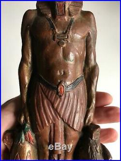 VINTAGE ART DECO ARMOR BRONZE EGYPTIAN REVIVAL Figural PHARAOH Lamp Rare