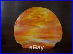 VINTAGE ART DECO HUBLEY CAST IRON SHIP GALLEON RADIO LIGHT With SLAG GLASS SHADE