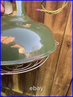 VINTAGE Art Deco COOLICON ENAMEL CEILING LIGHT SHADE green 9 wide fittings lamp