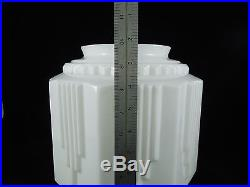 VINTAGE Art Deco large white milkglass lamp shade 10 tall industrial torchiere