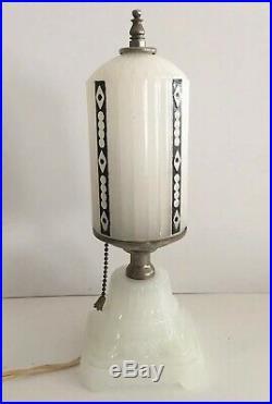VINTAGE PAIR 1920's-1930's WHITE MILK GLASS ART DECO BULLET BOUDOIR VANITY LAMPS