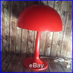 VINTAGE RED ORANGE ROUND MUSHROOM PLASTIC LAMP ART DECO 1970s ERA WORKING WELL