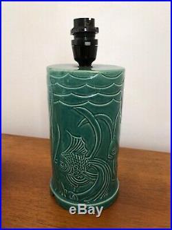 VIntage 1920s 1930s Art Deco Ceramic Lamp Base Fish Design Original