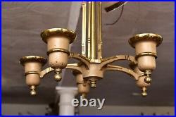 VTG ART DECO Ceiling Light Lamp Fixture Pendant Brass hanging chandelier 16 ATQ