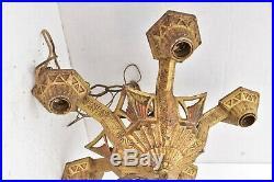 VTG ART DECO Ceiling Light Lamp Fixture hanging chandelier 5 Bulb ORNATE large