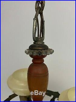 VTG Antique Art Deco 3 Light Chandelier Slip Shade Custard Glass Hanging Ceiling