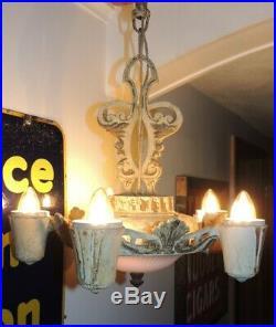VTG Antique Cast Chandelier Art Deco Victorian Hanging Light Fixture Lamp 5 Rare