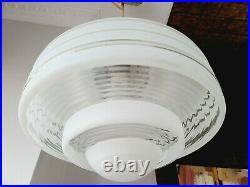 VTG Art Deco Ceiling Lamp Fixture Glass Chandelier Light Wow 1950' Streamline