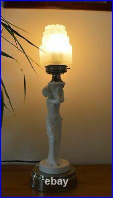 VTG Czech ART DECO 1930 Keramiklampe Wolkenkratzer Glasschirm Bechyne