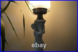VTG Czech ART DECO 1930's Ceramic Lamp Skyscraper Glass Shade Bechyne