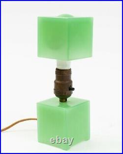 VTG Houze Glass Cube Art Deco Depression Era JADEITE Lamp 10.25 Tall with Bulb