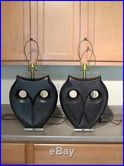 VTG Pair Ultra Modern Black & Gray Speckled Haeger Art Deco Pottery Owl Lamps