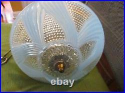 VTG antique ART Deco 1940's Glass Shade Ceiling Light Lamp Fixture Chandelier