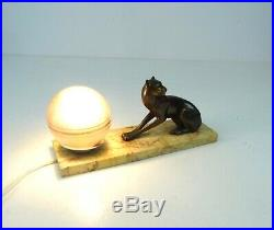 Very Rare Art Deco Panther Metal Cast Table Lamp On Marble Animal Antique