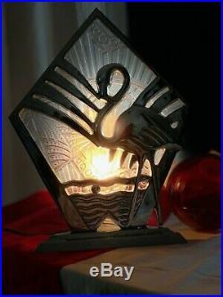 Very Rare Original Art Deco French Flamingo Table Lamp Antique 1930
